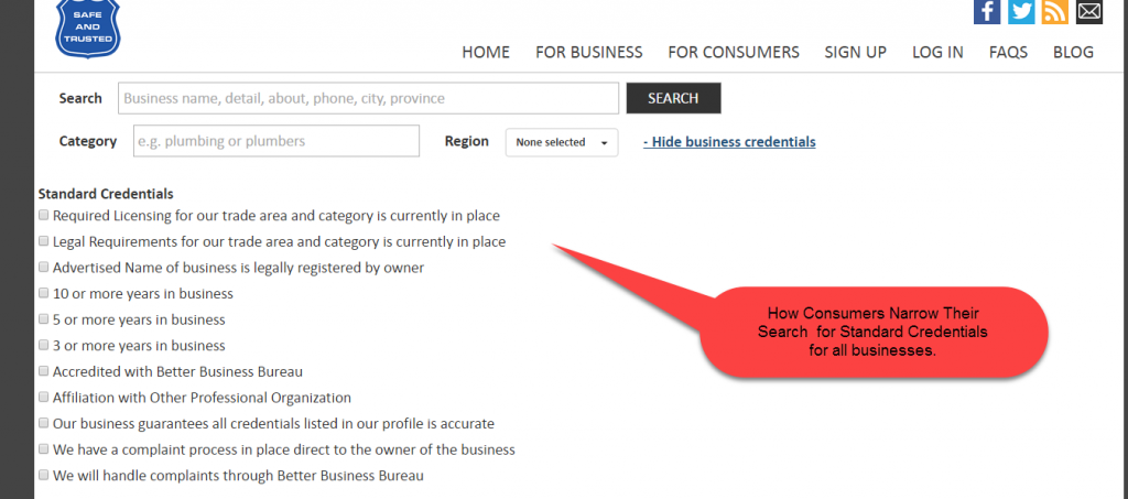 How a Consumer Searches for Credentials for Any Type of Business